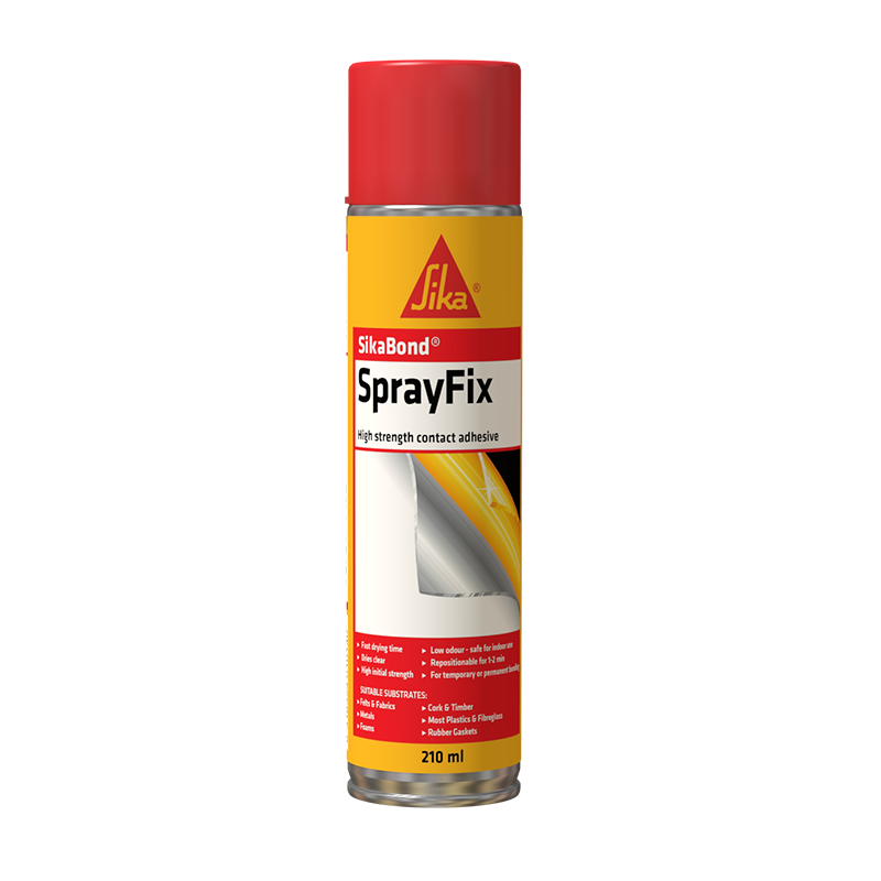SikaBond® SprayFix is an easy to use, multipurpose, high performance, aerosol contact adhesive used for both temporary & permanent bonding applications.
